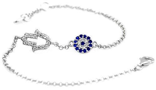 Hamsa Crystal Evil Eye Silver Bracelet