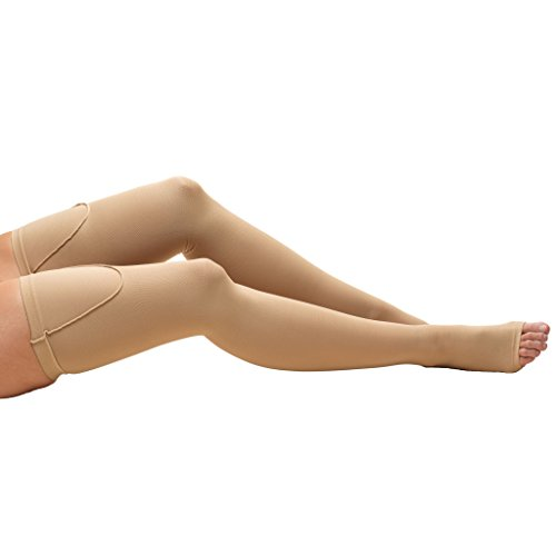 Truform 0810 Anti-Embolism Stockings, Thigh High Length, Open Toe, 18 mmHg , Beige, X-Large (Medical Ted Hose compare prices)