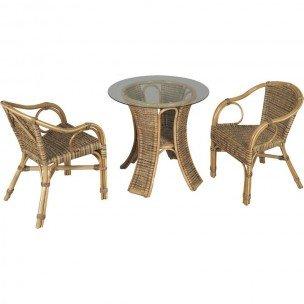 Muebles de jardín, incluye 1 mesa redonda de cristal, 2 sillones de mimbre