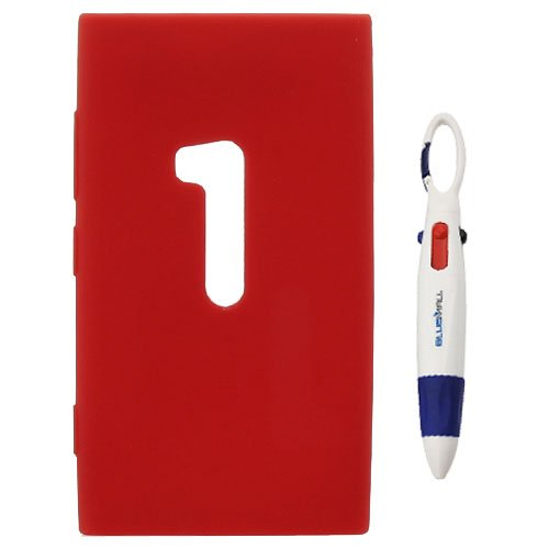 Birugear Red Silicone Skin Case Cover For Nokia Lumia 920 (At&T) With * 4-Color Clip Pen *