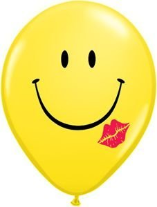 "Single Source Party Suppies - 11"" Smiley Face Kiss Latex Balloons - Bag of 10"