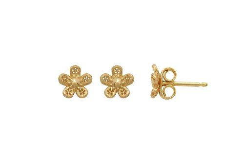 Blossom Gold Plated Sterling Silver Flower Stud Earrings