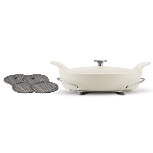 Tramontina 80131/089DS Limited Editions Enameled Cast Iron Series 1200 Covered Oval Braiser, Eggshell