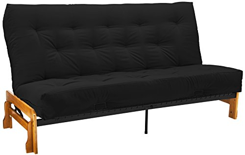 Epic Furnishings 10-Inch Loft Innerspring Springaire Microfiber Suede/Twill Cased Futon, Full, Black front-541030