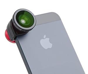 Olloclip iPhone 5 objectif, accessoire iPhone 5 regroupant 3 objectifs différents: Fisheye, Macro et Grand-Angle, rouge