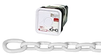 "Campbell 0200356 System 3 Grade 30 Low Carbon Steel Proof Coil Anchor Lead Chain in Square Pail, Galvanized with Polycoated, 5/16"" Trade, 0.31"" Diameter, White, 75' Length, 1900 lbs Load Capacity"