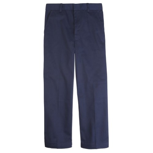 French Toast Boys' Adjustable Waist Flat Front Pant - Navy, 14