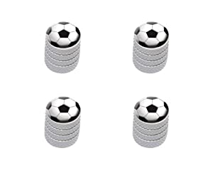 Soccer Ball Sporting Goods Sportsball Tire Rim Wheel Aluminum Valve Stem Caps – White Color