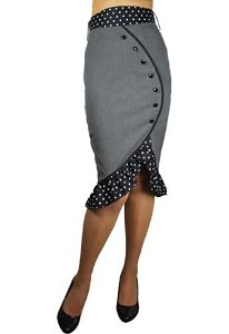 The-Deadly-Tulip-Gray-Pencil-40s-50s-Retro-PinUp-Polka-Dot-Vintage-Style-Skirt