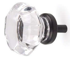 Finest OIL Rubbed Bronze OLD Town 24% Lead Crystal Glass Knob Pulls.