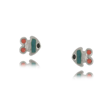 Colored Enamel Fish Children's Earrings in Sterling Silver - 3/16