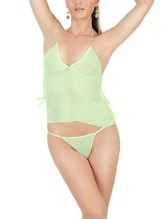 Amazon.com: Sheer Cami and Thong Set, Minty Green-M/L