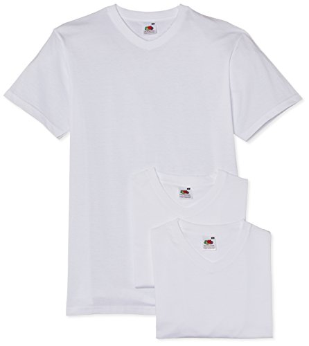 fruit-of-the-loom-valueweight-v-neck-t-3-pack-t-shirt-uni-col-ras-du-cou-manches-courtes-homme-blanc