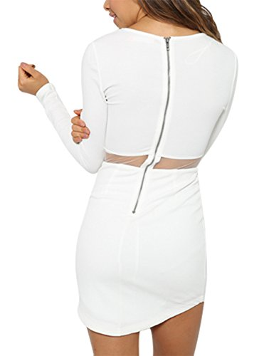 Leadingstar Women Crew Neck Long Sleeve Crop Top Midi Skirt Bodycon Short Dress