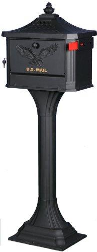 Gibraltar  PED0000B Large Cast Aluminum Pedestal Mailbox, Black image