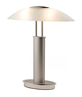 Artiva USA Avalon 9476TCM Touch-switch Table Lamp, Frosted Satin Nickel + Clear Chrome Finish