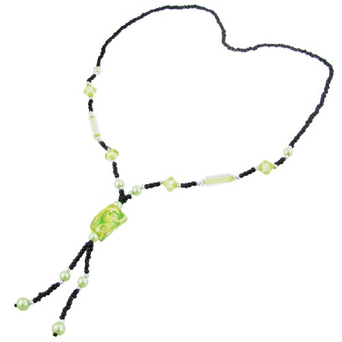 Rosallini Lady Faux Bead Decor Green Plastic Stone Shaped Pendant Sweater Necklace