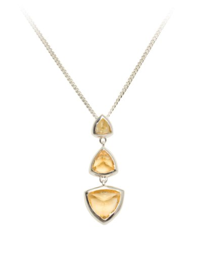 Woman by Katie Rowland Sterling Silver Citrine Gem Drop Necklace of 46cm