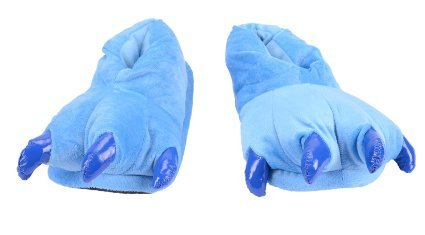 Costume & Cosplay : Size 39-40 Animal Dinosaur Godzilla Paw Claws Monster Feet Soft Plush Stuffed Warm Winter Home Slippers Pajamas Party Shoes for Unisex Adults Men Womens Teens (Blue)