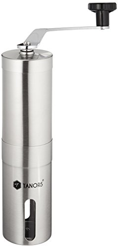 Tanors Ceramic Burr manual Coffee Grinder with Water Resistant Travel Bag and Cleaning Brush, Stainless Steel