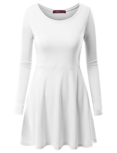 Doublju Womens Long Sleeve Round Neck FlaWHITE Skater Dress WHITE SMALL