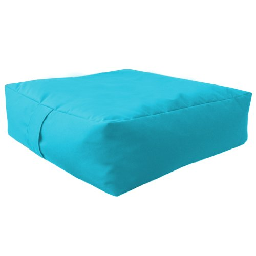 Large Bean Floor Garden Slab Cushion Stool Pouffe in Turquoise, Great for Indoors and Outdoors. Ideal for Relaxing and Occasional seating, Made from High Quality Water Resistant Material, Available in 10 Great Colours
