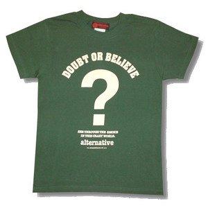 ?クエスチョンマークTシャツ/メンズ/レディース/ (L, グリーン)