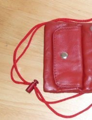 Soft Leather Neck Id/Passport Wallet/Holder . Red