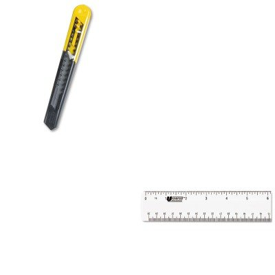 Kitbos10150Unv59022 - Value Kit - Stanley Straight Handle Knife W/Retractable 13 Point Snap-Off Blade (Bos10150) And Universal Acrylic Plastic Ruler (Unv59022)