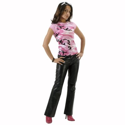 8039 WOMEN'S PINK CAMO SHORT SLEEVE RAGLAN T-SHIRT (LARGE)