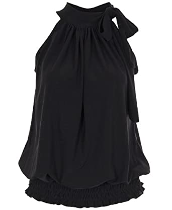 Krisp Womens Tie up Halter neck elastic hem Draped Ruched Blouse Flattering Bow Tie Summer Party Evening tops Blouse Dress 7571 (8, Black)
