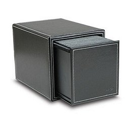 Faux Leather CD/DVD Filing Storage Box, Black, Holds 100