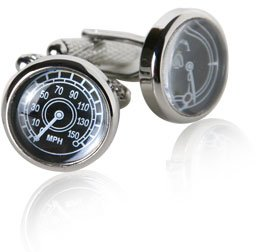 Speedometer & Fuel Gauge Silver Cufflinks by Cuff-Daddy