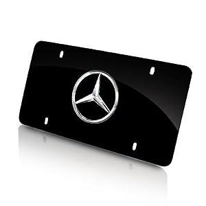 Mercedes benz logo on black steel auto license for Mercedes benz vanity license plates