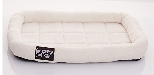 2PET Cushy Soft Fleece Pet Bed-All-Season Crate Pad for Your Pet's Comfort-Double Fleece Filling for Better Cushioning-Waterproof, Easy to Clean-Sturdy Border for Head Support XLarge 32