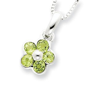 Sterling Silver Peridot Flower Pendant and Box Chain 16 inch Necklace