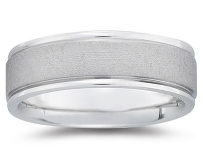 7mm Brushed Center Men's Wedding Band in 14k White Gold