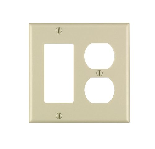 Leviton 80455-I 2-Gang 1-Duplex 1-Decora/Gfci Device Combination Wallplate, Standard Size, Thermoset, Device Mount, Ivory