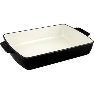 Cast Iron Cookware to Tableware Rectangular Roasting Dish (Black) - 44 x 27 x 8.5cm - Offers attractive presentation from the oven to the table