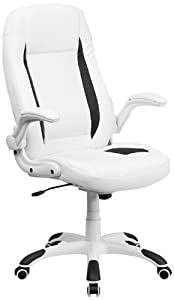 FlashFurniture CH-CX0176H06-WH-GG High Back White Leather Executive Office Chair