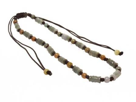 Genuine Bamboo Carving Jade Necklace Decorated with Genuine Yellow Jade Beads in Between Each Bamboo