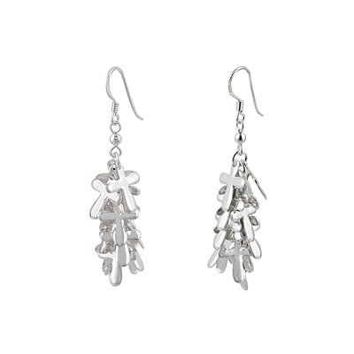 Sterling Silver Cross Accents Cascade Dangle Earrings