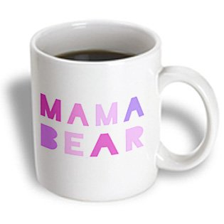 3Drose Mama Bear Pink Text With Paw Print For Mothers Day, Part Of Family Set, Ceramic Mug, 15-Oz