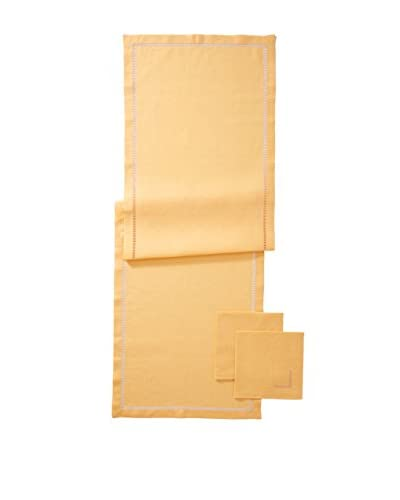 Hermès 3-Piece Peach Linen Runner Napkin Set