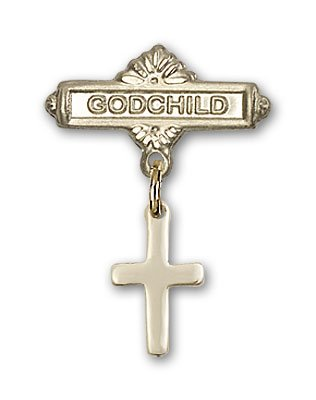 Gold Filled Baby Badge with Cross Charm and Godchild Badge Pin
