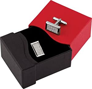 Titanium and Sterling Silver Inlay Rectangle Cuff Links with Special Gift Box
