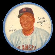 1962 Salada Tea Coins (Baseball) Card# 57 Leon Wagner (White Buttons) Of The Los Angeles Angels Ex Condition