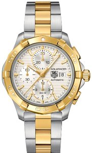 Tag Heuer Aquaracer Chronograph Stainless Steel and 18k Gold Mens Watch CAP2120.BB0834