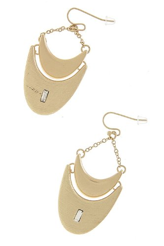 Trendy Fashion Jewelry Double Crescent Earrings By Fashion Destination | (Matted Gold)