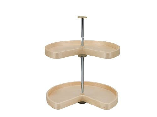 28in Kidney Banded Wood Lazy Susan 2-shelf Set